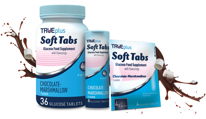 True Plus Soft Tabs Glucose Food Supplements Chocolate Marshmallow 36ct., 8ct., 4ct.